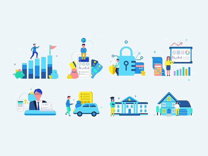 Banking mobile app UI illustrations