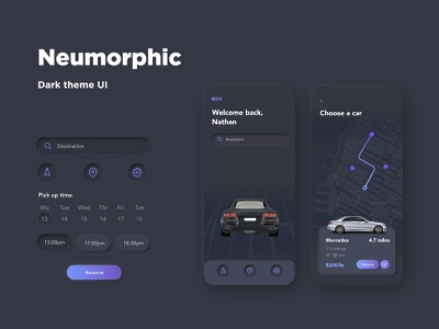 neumorphism design neumorphic design neumorphic ui map ui navigation ui mobile ui interaction design dark ui dark theme cinema 4d car ui car mobile ui c4d app design app 3d ui 3d neumorphism