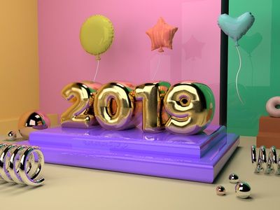 HAPPY 2019! color type typography text balloon text balloon design 3d 3dart illustration 2019 cinema4d c4d