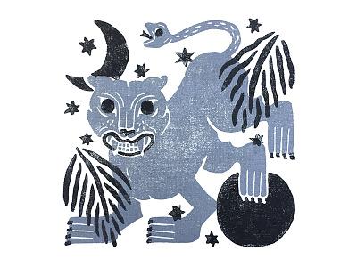 Chimera Handkerchief textile design illustration graphic blockprint chimera