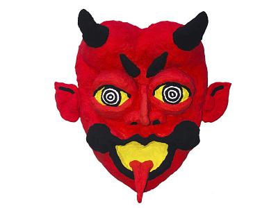 Paper Mache Devil Face papermache devil