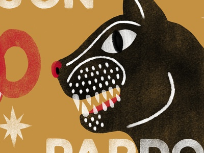 De Noche Todos los Gatos Son Pardos type graphic illustration