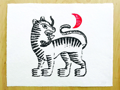 Tiger Block Print blockprint illustration graphic print