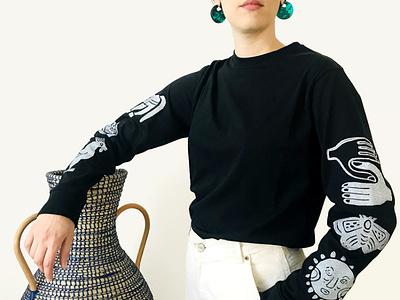 Dioscuri Onyx Block Printed Long Sleeve blockprint apparel textile surface illustration graphic design print