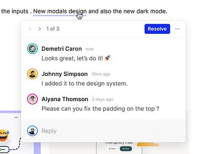 Inline comments inline comments simple ux web app design ui