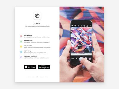App showcase camera photos ux mobile web design ui showcase app