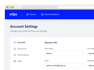 Account Settings settings web app design ui