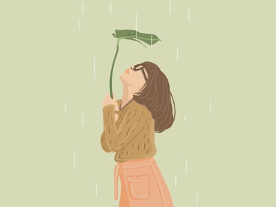 Girl in the Rain girl rain vector illustration art simple design illustraion