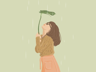 Girl in the Rain girl rain vector illustration art simple design illustraion