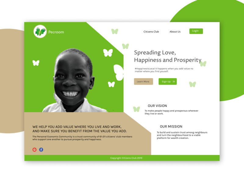 Pecroom Social Platform web design website love happiness prosperity social platform