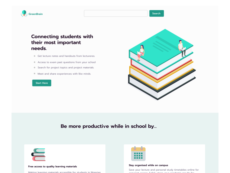 Green Brain dribbble social platform design website web uidesign ui education