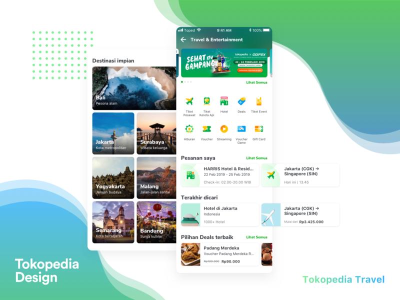 Travel & Entertainment Sub-homepage app typography branding vector ui design icon ux logo illustration tokopedia