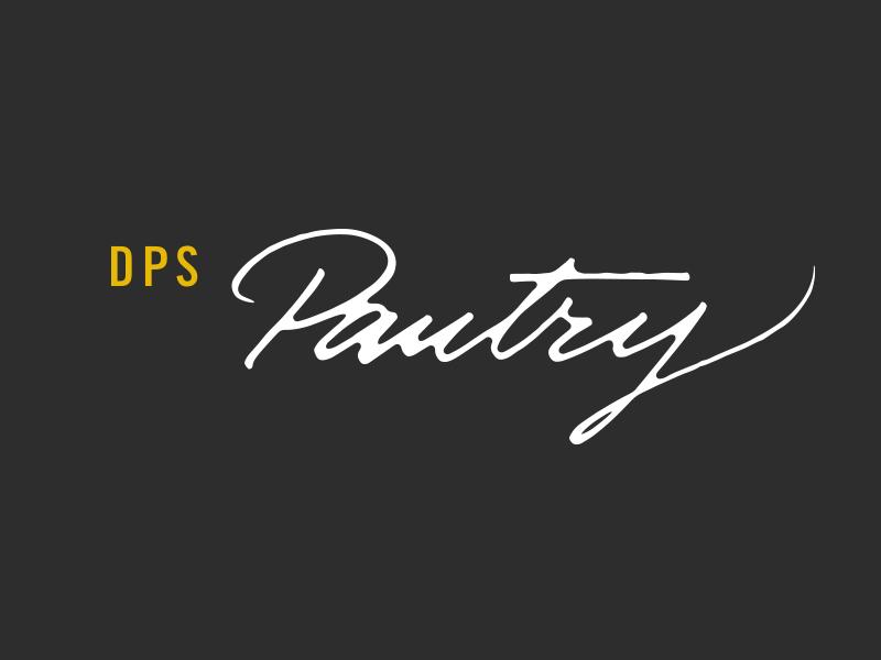 DPS Pantry, Logo. jar packaging brush mural expressive lettering typography