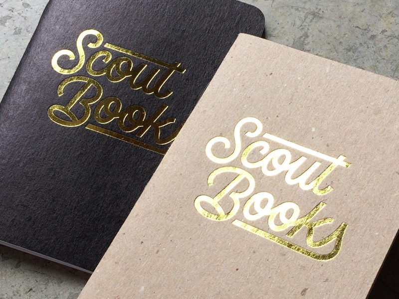 Scout Books, Logotype gold foil typography monoline logotype brush calligraphy lettering