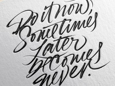 2016 Letterpress Calendar. letterpress expressive typography brush calligraphy lettering