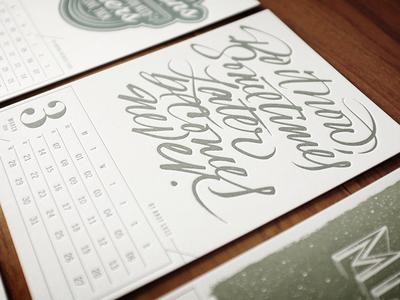 Letterpress Calendar, Finished! letterpress expressive typography brush calligraphy lettering