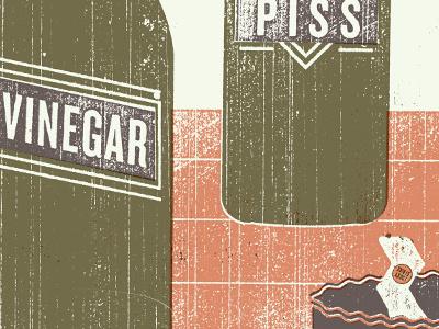 Maximum piss vinegar lucky strike texture poster bottles food philly screenprinting
