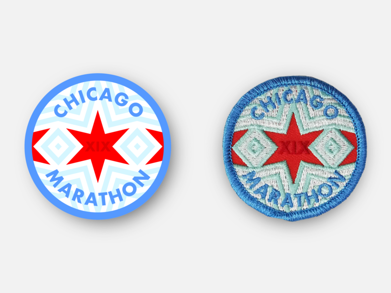 Chicago Marathon 2019 Race Day Patch physcial product sports chicago marathon badge design racing patches running patch inkscape svg vector