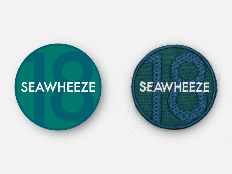 "SeaWheeze Half Marathon 2018 Commemorative 2"" Race Day Patch physical product lululemon seawheeze marathon design badge illustration patches running patch inkscape svg vector"