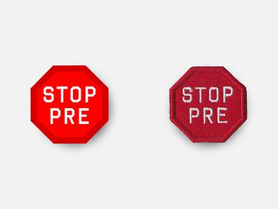 "STOP PRE 1.5"" Merit Badge marathon racing design badge patches running patch inkscape svg vector product oregon prefontaine stop pre"