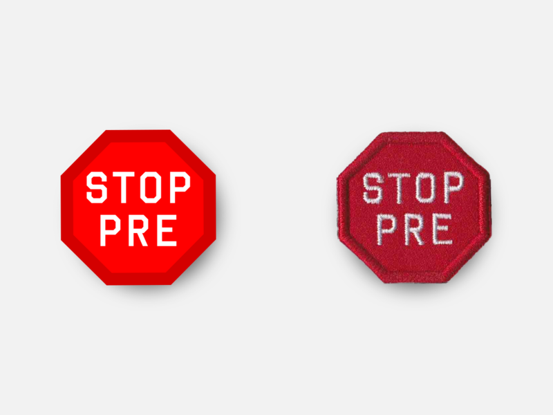 "STOP PRE 1.5"" Merit Badge marathon racing design badge patches running patch inkscape svg vector product oregon prefontaine stop pre"
