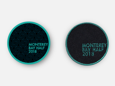 Monterey Bay Half Marathon 2018 Commemorative Race Day Patch physical product monterey bay monterey half marathon marathon racing design badge patches running patch inkscape svg vector