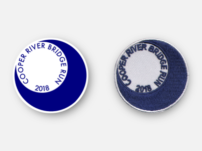 """Cooper River Bridge Run (CRBR) 2018 2"""" Race Day Patch south carolina sc charleston merit badge physical product racing design badge patches running patch inkscape svg vector"""