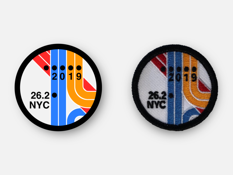NYC Marathon 2019 Race Day Patch vignelli subway nyc marathon new york city nyc physical product marathon racing design patches badge running patch inkscape svg vector