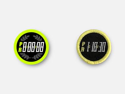 "PR Timer 1.5"" Merit Badge merchandise merit badge physical product racing marathon patches badge running patch inkscape svg vector"