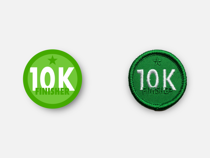 "10k Finisher 1.5"" Merit Badge 10k merit badge physical product design running badge patches patch svg inkscape vector"