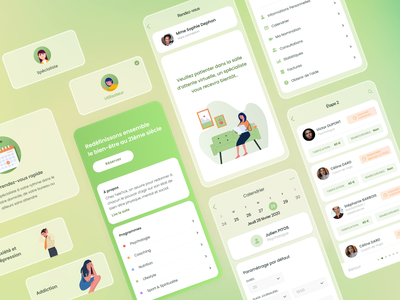 Health & Wellbeing App interface psychology wellness health application mobile app illustration firstshot ux ui design