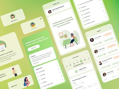 Health & Wellbeing App interface psychology wellness health application mobile app illustration firstshot ux ui design