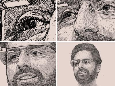Portrait unique style artwork - Sergey Brin