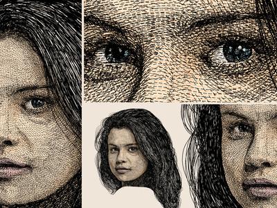 Portrait unique style artwork - Selena Gomez