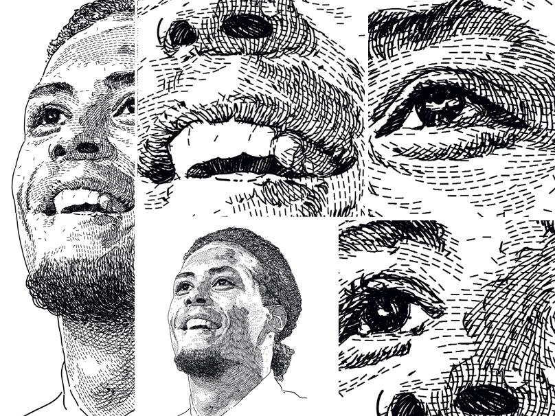 Portrait unique style - Virgil Van Dijk fiverrgigs art figure design art design portrait portrait art open commission commission open commission liverpool sports sport football footballer virgil van dijk