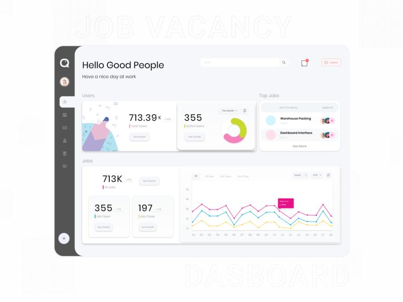 Job Vacancy - Dashboard diagram statistics job board user vacancy job illustration card app adobexd simple explore elegant clean branding