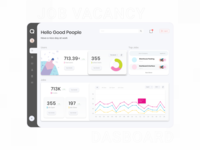 Job Vacancy - Dashboard diagram statistics job board user vacancy job illustration card app adobexd simple explore elegant clean branding