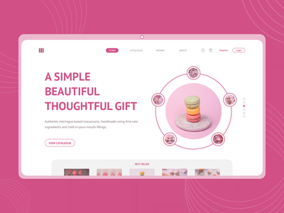 Macaroon Webite company macaroon catalogue cart food brand design company profile profile landingpage blog design ui adobexd explore clean elegant simple