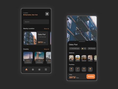 Booking Apartment Application trending details page darkmode dark ui home villa hotel property booking apartment landingpage app mobile app profile branding adobexd explore simple elegant clean