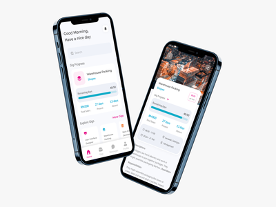 Qwork Application ios app ios 3d app design qwork gig details page homepage best2021 trend2021 card ui landingpage profile branding adobexd explore simple elegant clean