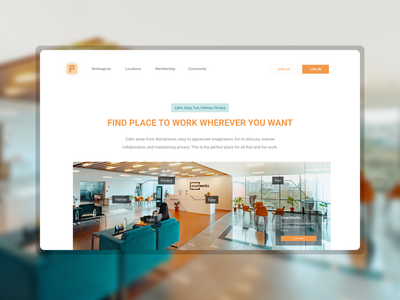 3 Places Website team landing page meeting office workspace space work trending best2021 trend2021 profile app design landingpage branding adobexd explore simple elegant clean