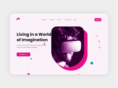 Virtual Reality Website contest home page landingpage best trend best2021 ar virtual reality vr ui motion graphics 3d animation profile branding adobexd explore simple elegant clean