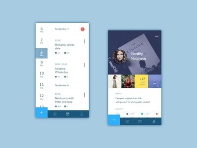 #exploration - Calender design profile profile card calendar app calender mobile app mobile app card clean branding ui