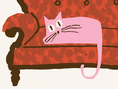 Pink cats cat quirky whimsical sofa
