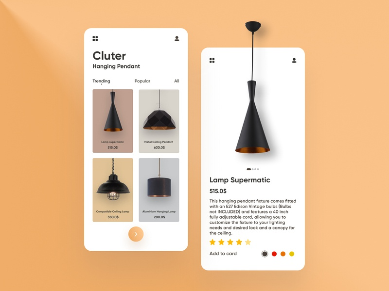 Cluter Hanging Lamp App club flyer lamp club cluter clutter white we webdesign web design website web website designers website designer card app ui inspiration amazing figma free
