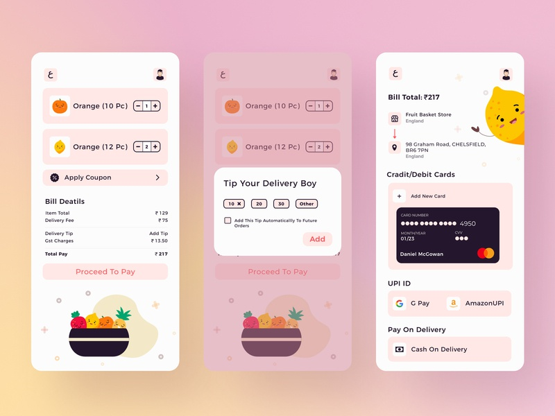 Fruit Basket Checkout Screen screen download free buynow tip redliodesign company development design code upi amazon google pay buy fruits billing credit card pay process bill