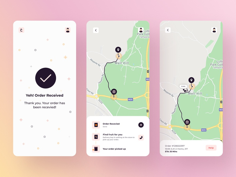 Fruit Basket Delivery App designer creative icons contact checkout free download free buy now location tracker redliodesigns development app design screen location fruits buy orders google maps google maps