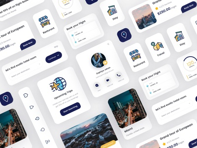 Travel Cards UI Kit free visit forms contact form contact us contact redlio redliodesigns cards design bookings booking flight stay restaurant traveling travel ux ui cards ui cards
