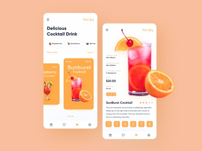 Thrive Zing Drinks App ui design drink icon figma ux ui design app design app colorful light color web development company web development web enjoy glass cold fruit freebie free