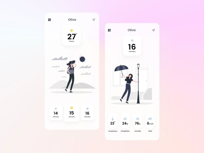 Oliva Weather App application mobile design ux colorful color card cards ui web developement company ui design app design figma idea web development web freebie free icon app weather